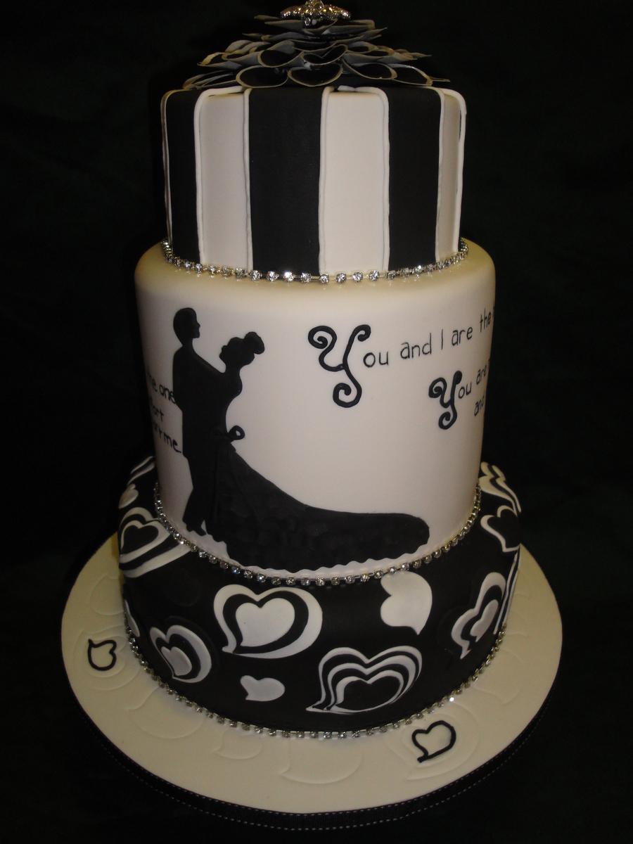 Black And White Wedding Cake - CakeCentral.com