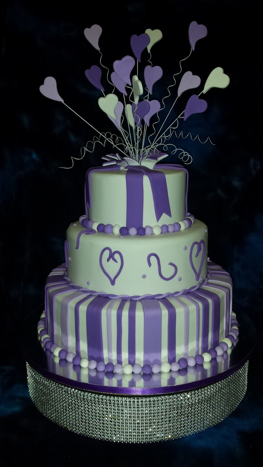 Purple And White 3 Tier 30th Birthday Cake Cakecentral