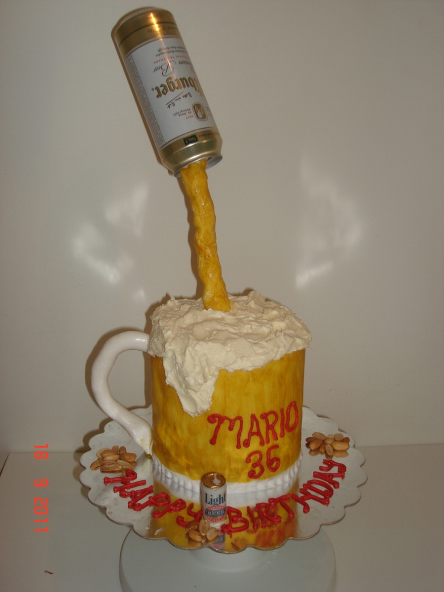 Beer Mug & Peanuts Birthday Cake on Cake Central