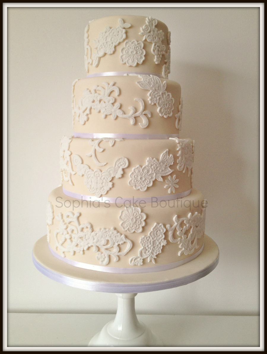 Ivory Amp White Lace 4 Tier Wedding Cake - CakeCentral.com