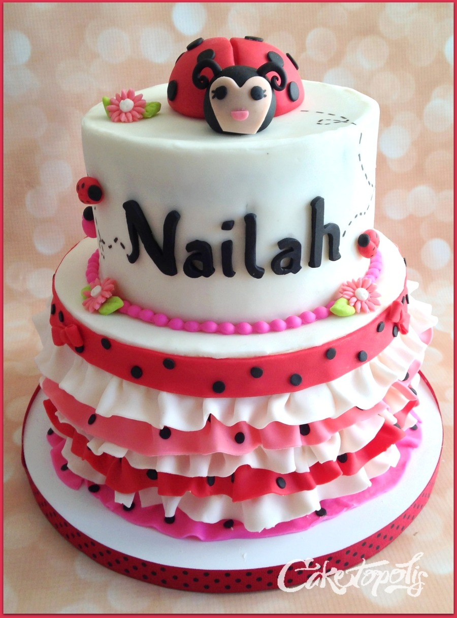 Prime Ladybug First Birthday Cake Cakecentral Com Personalised Birthday Cards Sponlily Jamesorg