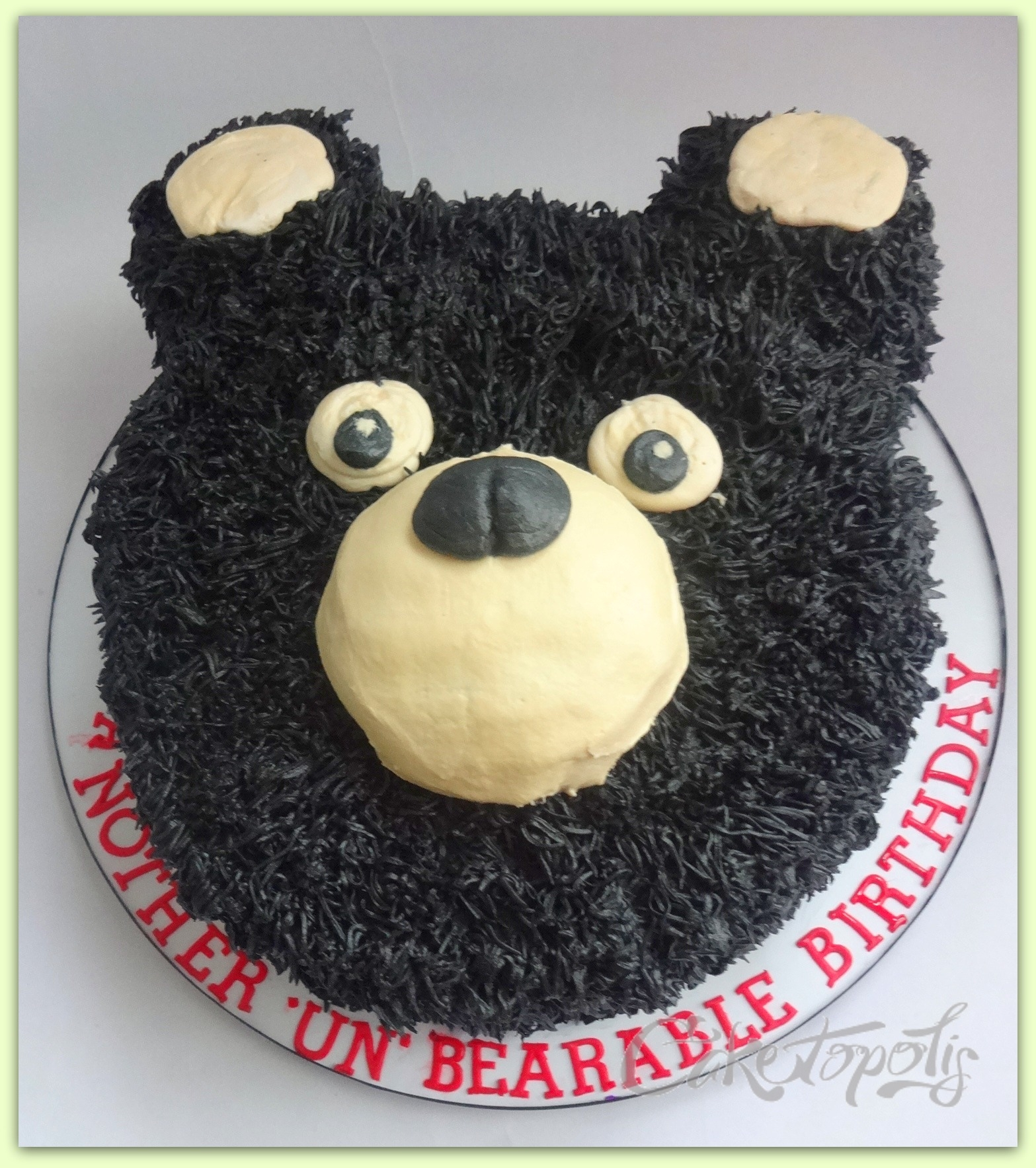 Buttercream Grizzly Bear Cake on Cake Central
