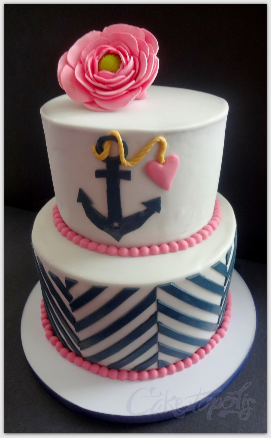navy and pink bridal shower cake on cake central