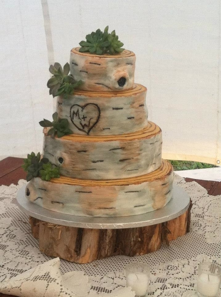 Rustic Birch Bark Wedding Cake on Cake Central