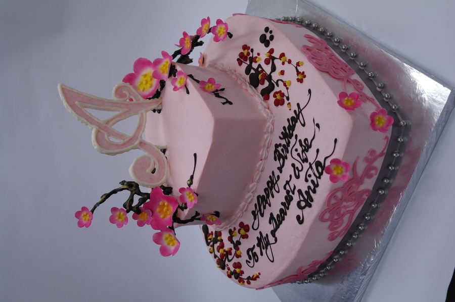 2 Tiers Cherry Blossom Cake  on Cake Central
