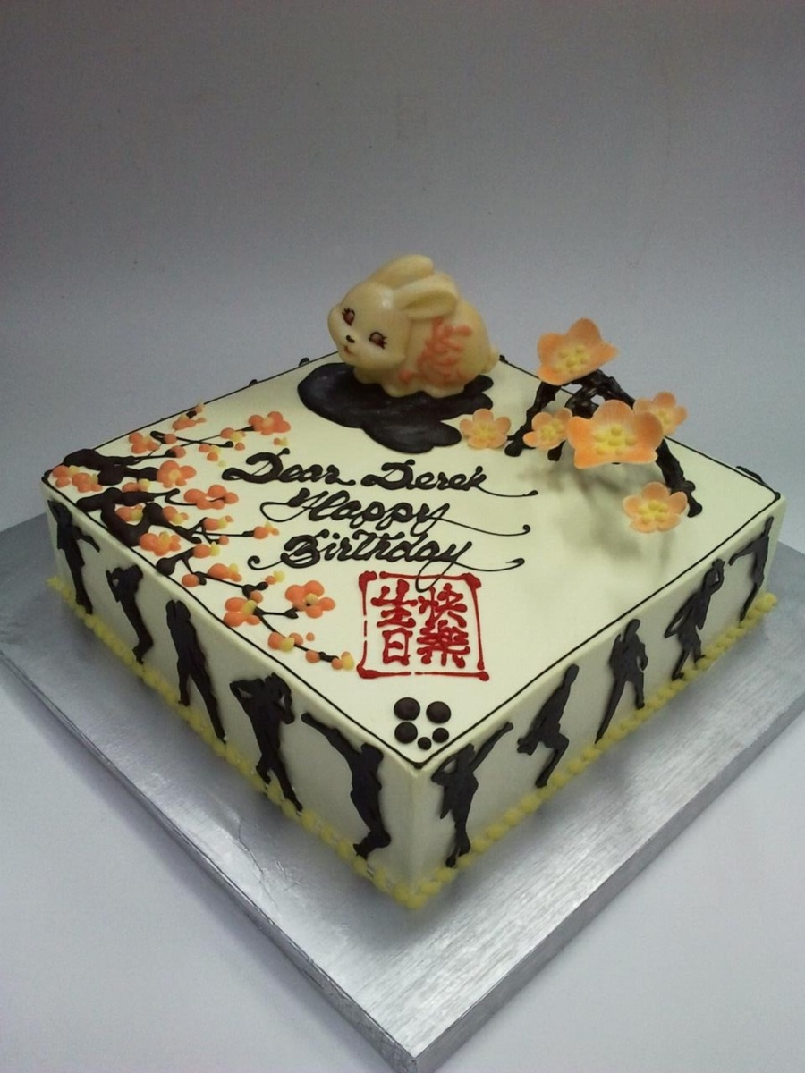 Chinese Style Birthday Cake With 3D Cherry Flower  on Cake Central