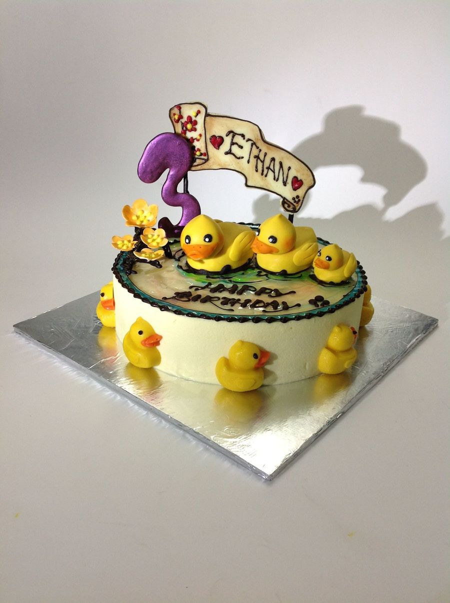 Birthday Cake With Passion Fruit Cheese Stuffed Chocolate Ducklings