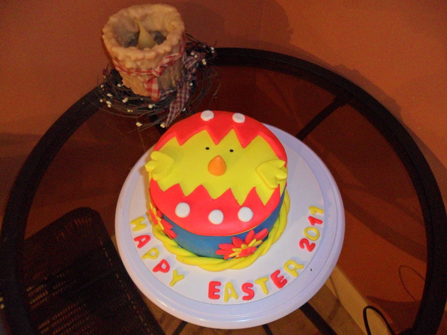 Easter Chick Busting Out Of A Egg! on Cake Central