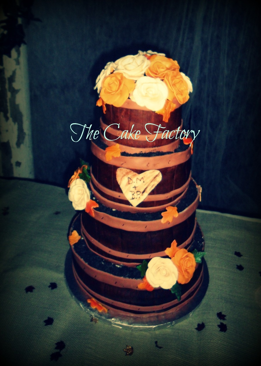 4 Tier Planter Barrel Wedding Cake Sugar Roses And The Couples Initials Carved Into The 2Nd Tier on Cake Central