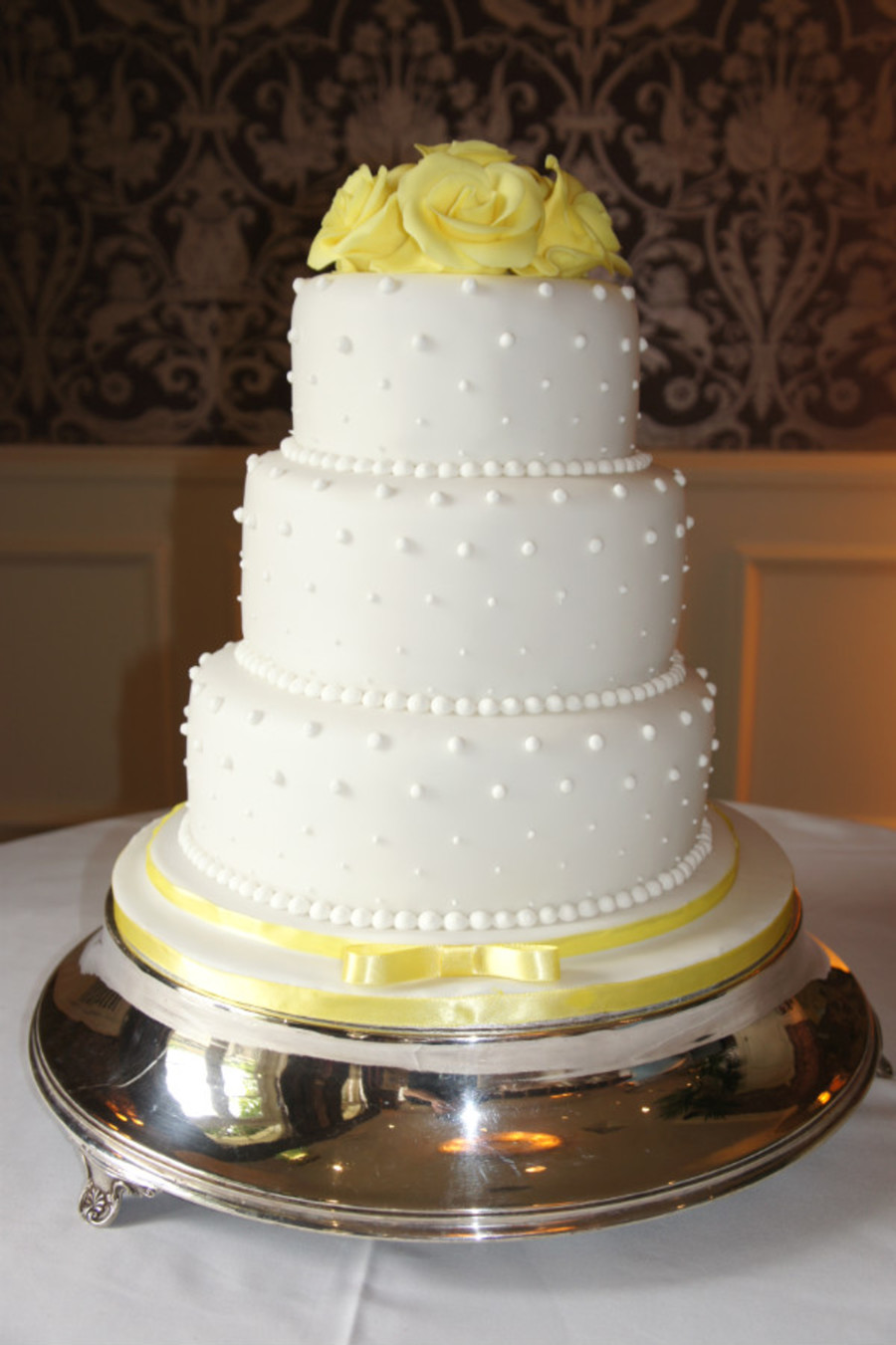 White & Yellow Wedding Cake on Cake Central
