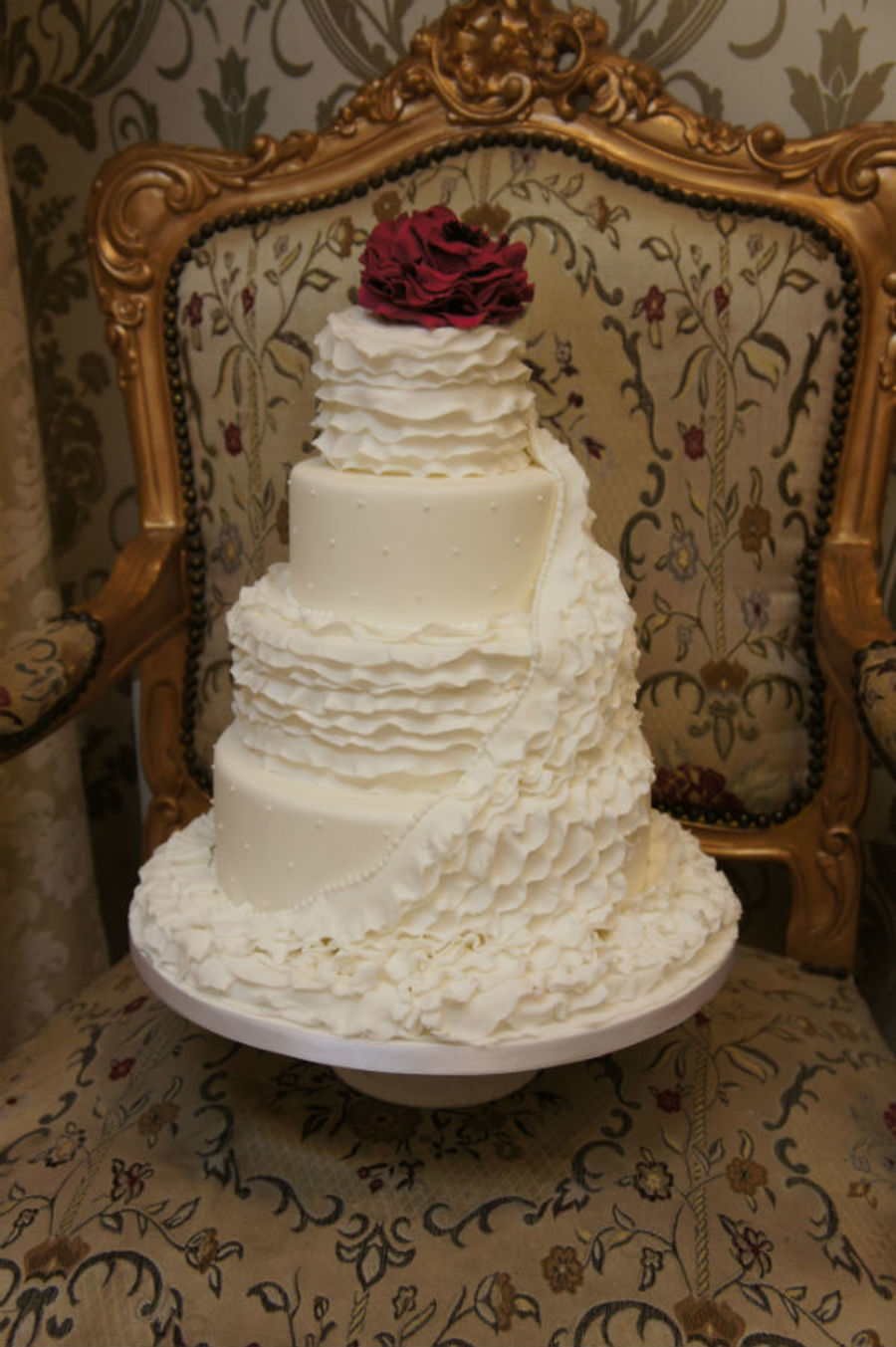 White Ruffle Wedding Cake on Cake Central