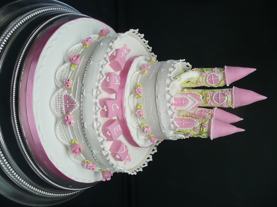 Pink & White Castle Cake on Cake Central