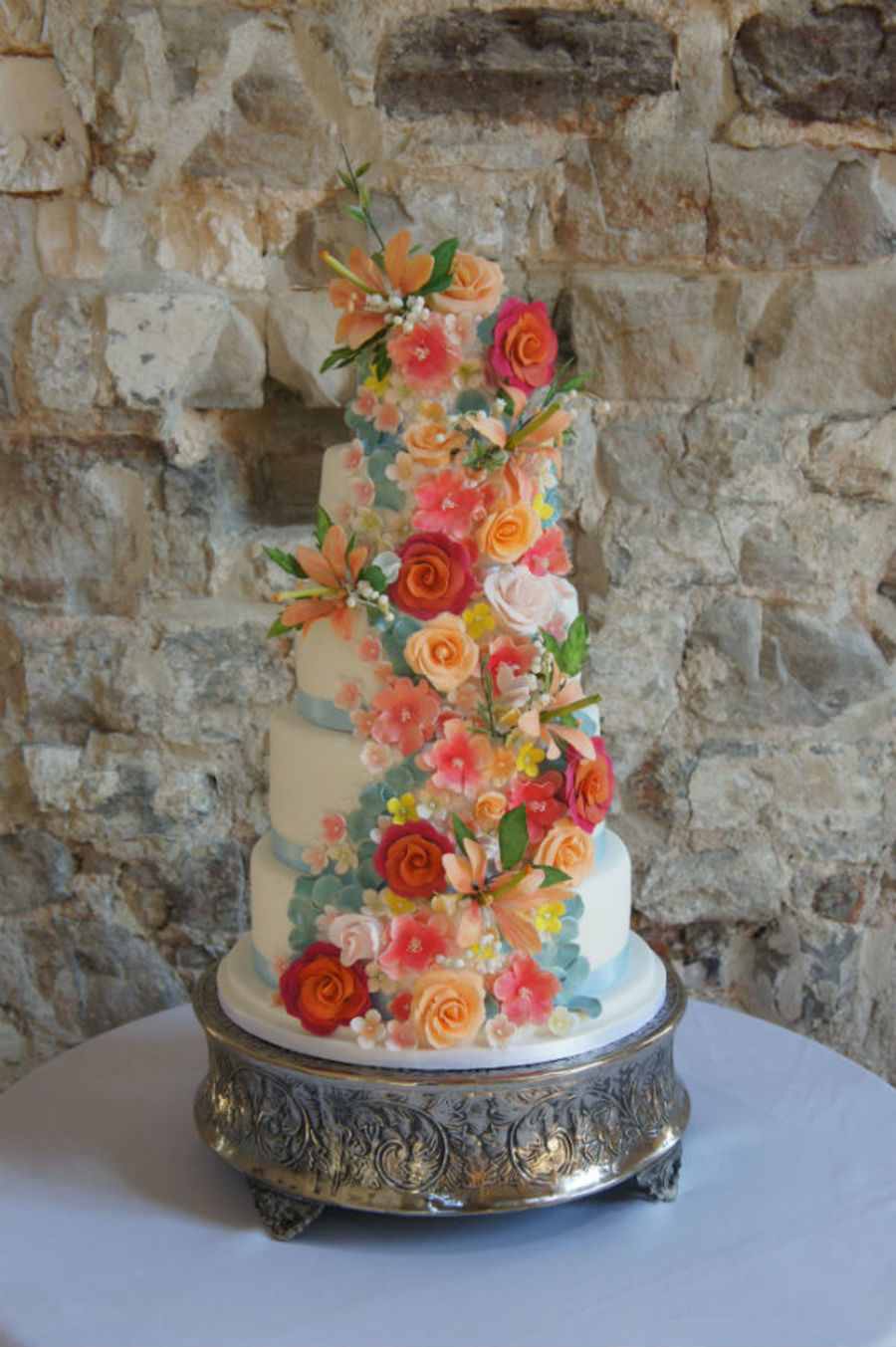 5 Tier Coral Sugar Flowers Wedding Cake Cakecentral Com