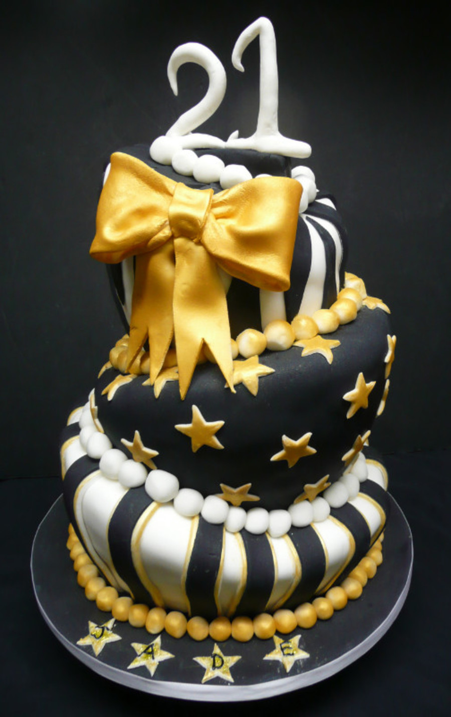 Black Gold And White Cake on Cake Central