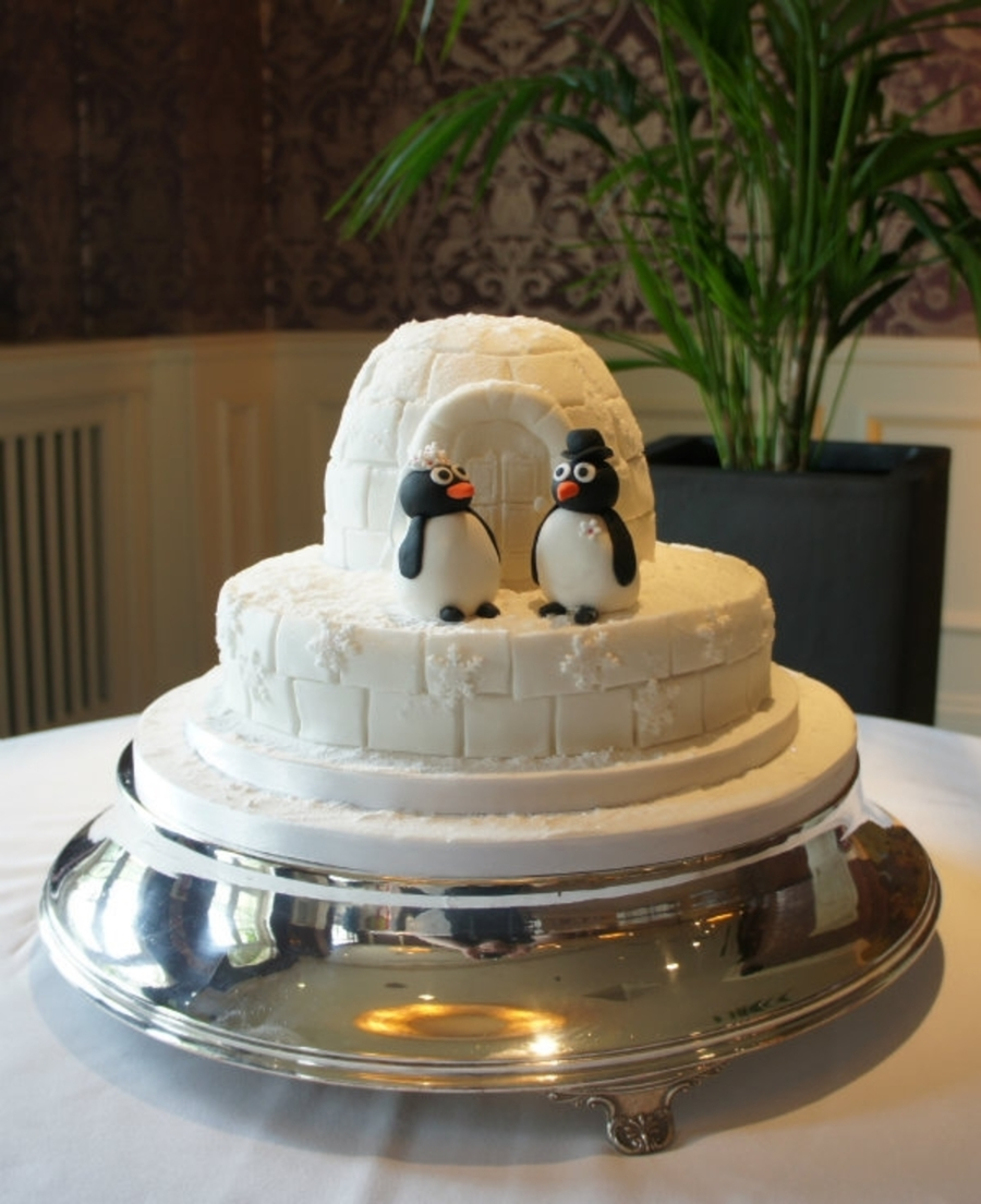 Igloo & Penguin Wedding Cake on Cake Central