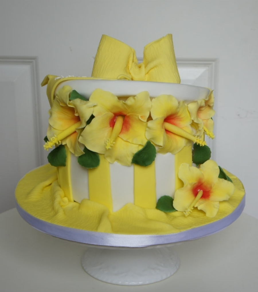Hat Box With Hibiscus Flowers on Cake Central