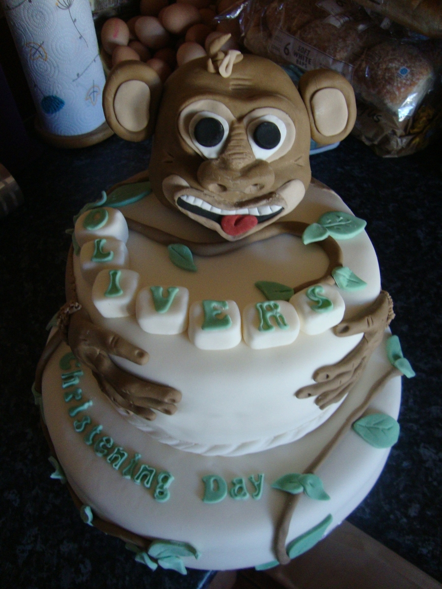 Little Monkey Christening Cake on Cake Central