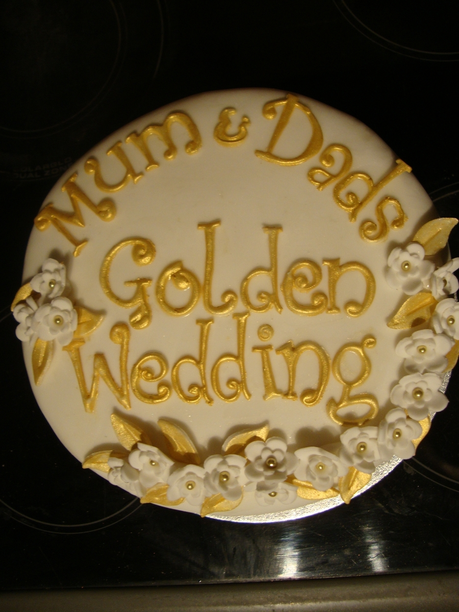 Golden Wedding on Cake Central