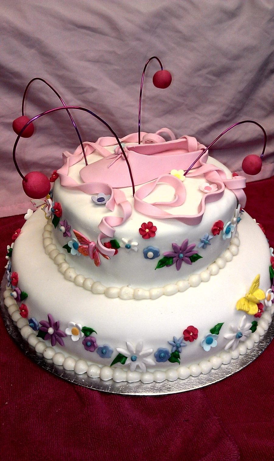 Ballet Shoe And Flowers on Cake Central