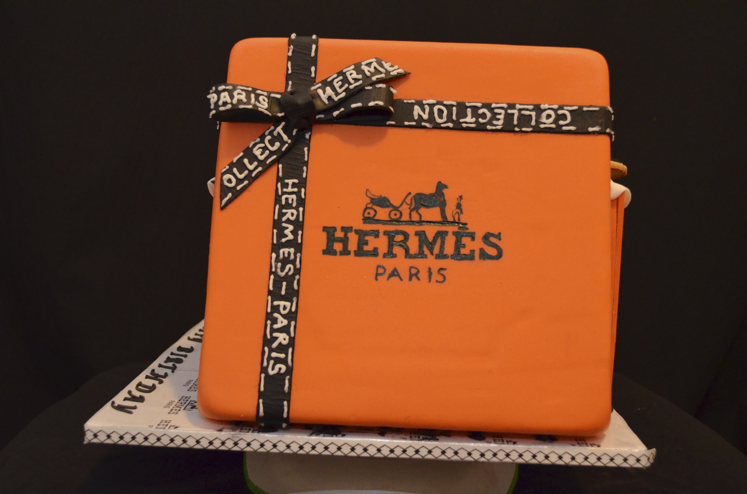 Hermes Gift Box Cake. With Designer Cookie Accompaniment First Try ...