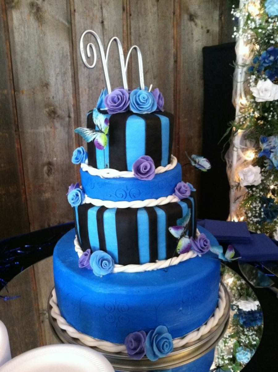 Blue, Purple, Black Wedding Cake on Cake Central