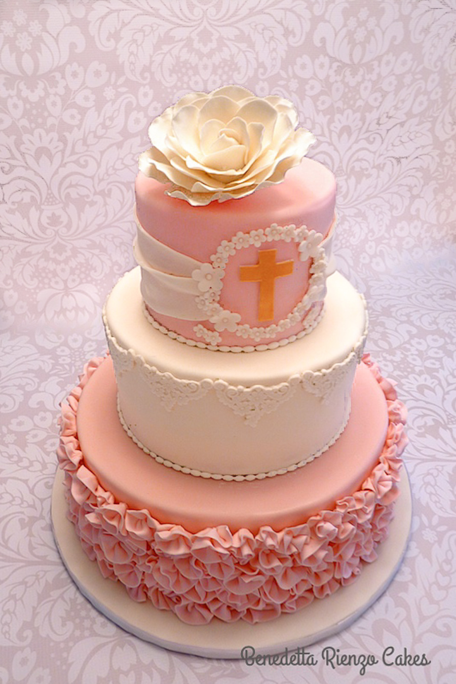 Ribbon Rose Communion Cake Cakecentral Com
