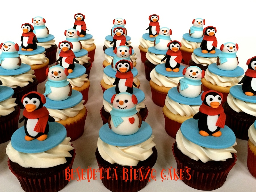 Penguin And Snowmen Cupcakes on Cake Central