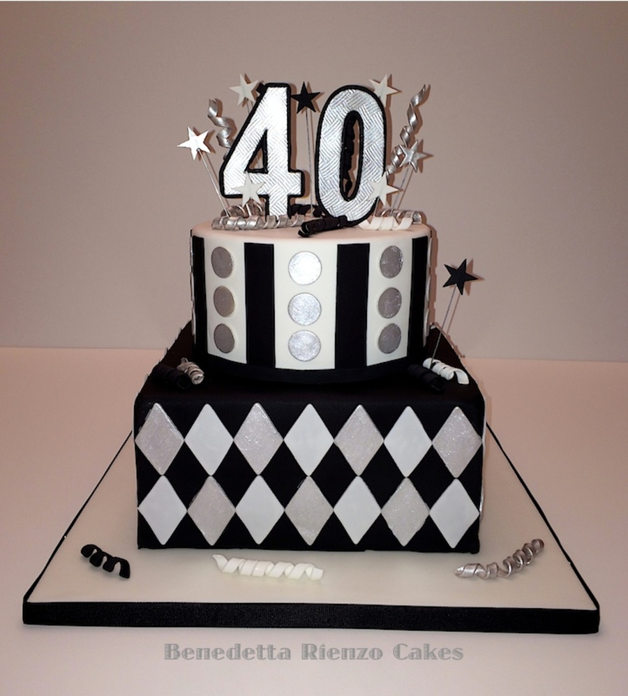 Silver Black And White 40th Birthday Cake Cakecentral Com