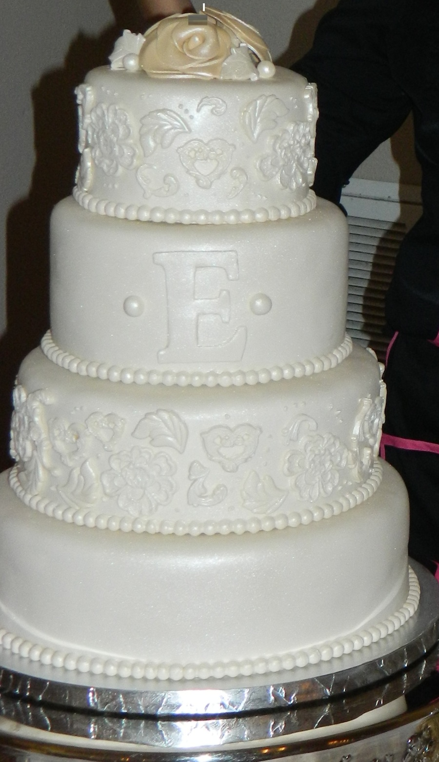 I Was Inspired By A Cake I Saw On Pinterest The Bride Wanted It To Have A Vintage Look 4 Tier Cake Covered In Fondant With Pearl Dust on Cake Central