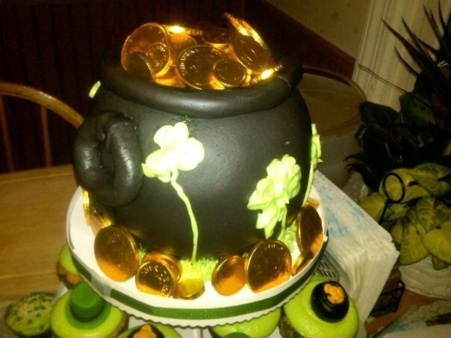 Pot Of Gold Used Ball Cake Pan Candy Coins On Top on Cake Central