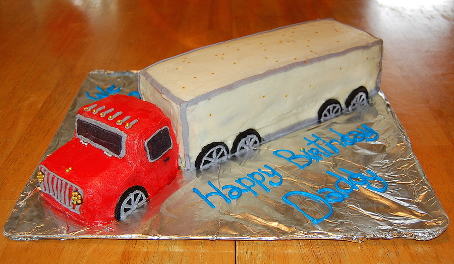 Red And White Semi Truck Cake on Cake Central