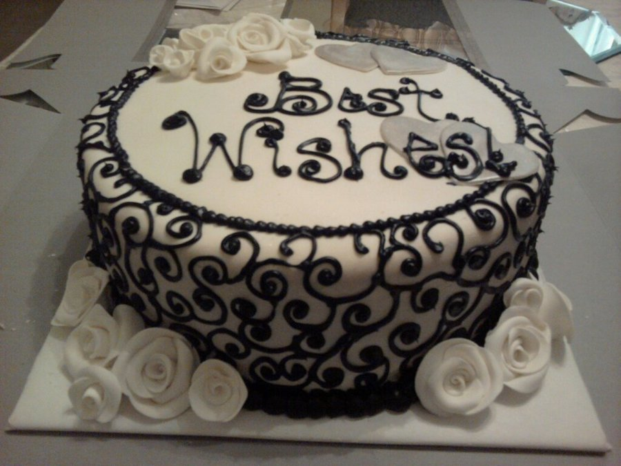 Black & White Bridal Shower Cake on Cake Central