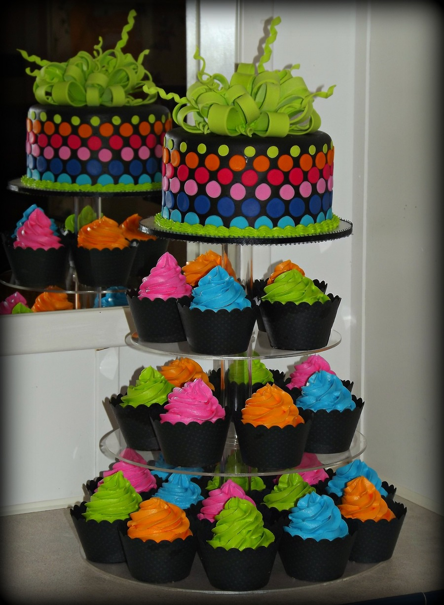 Neon Cake And Cupcake Tower on Cake Central