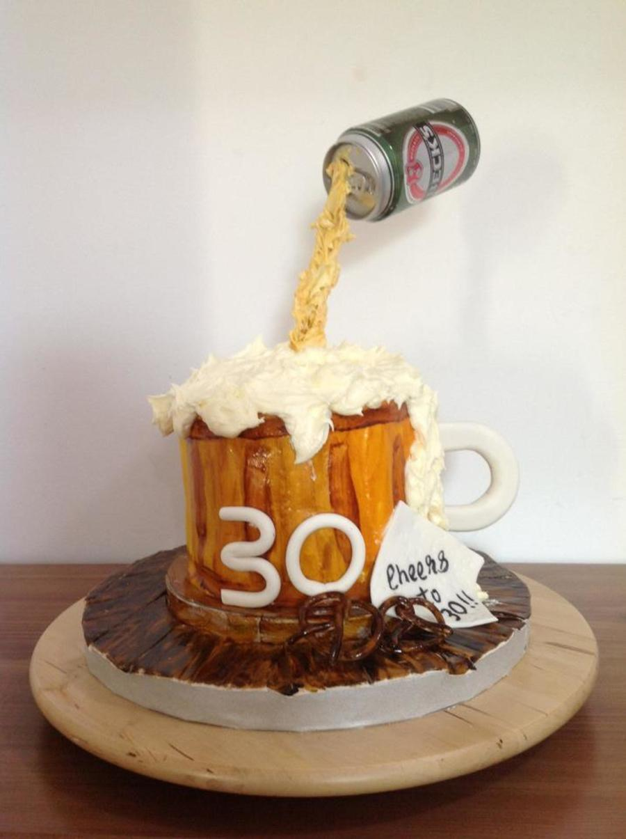 6 Inch Beer Mug Birthday Cake Lemon Curd And Buttercream Filling Covered With Ganache Fondant