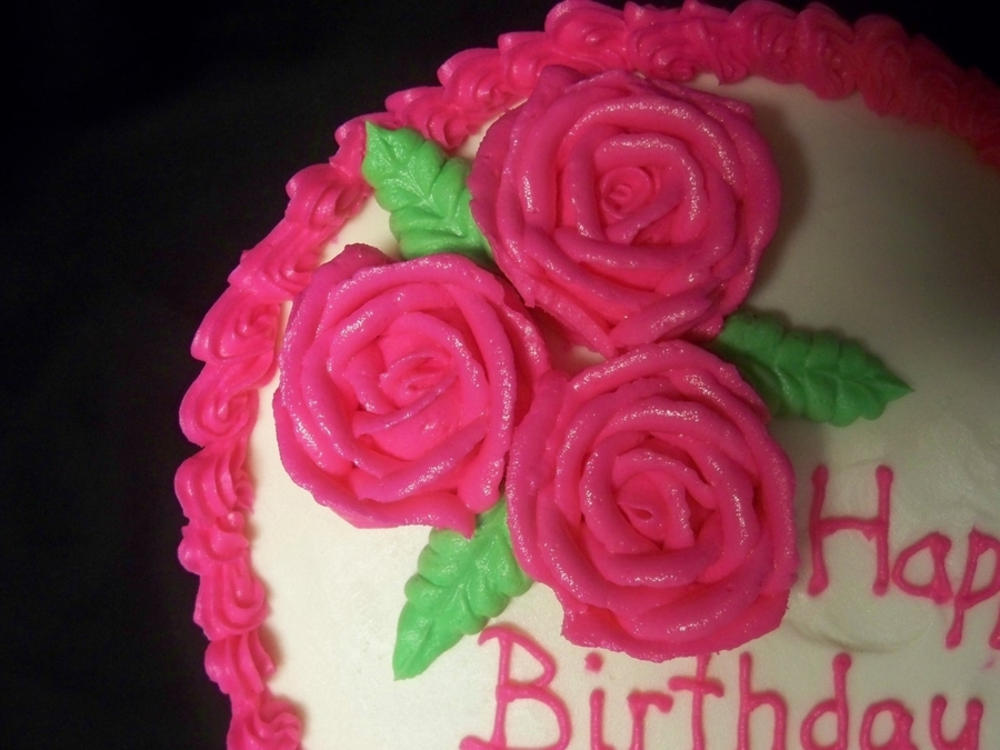 Birthday Cake Images Roses : Pink Rose Birthday Cake - CakeCentral.com