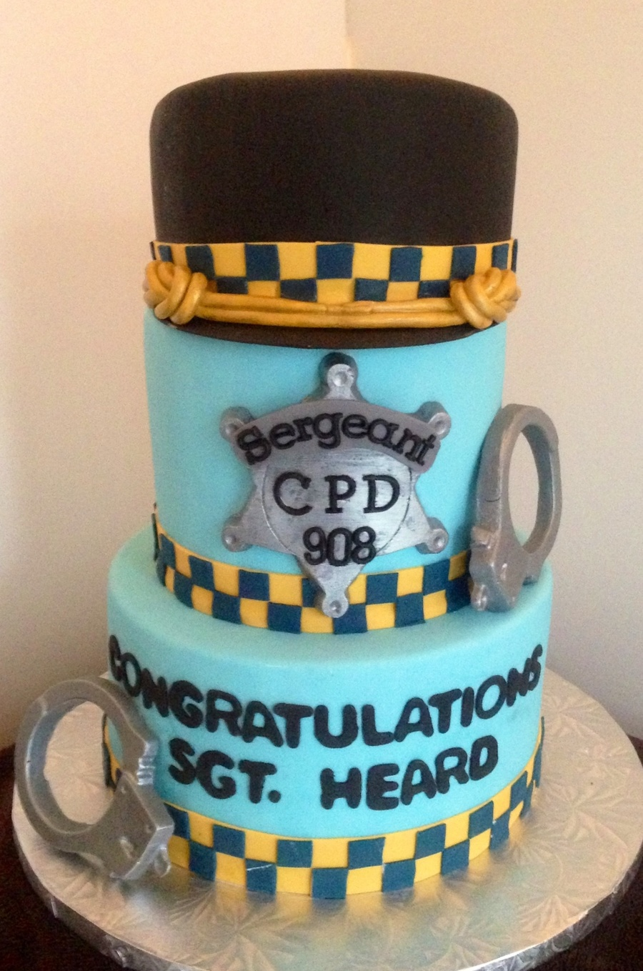 Top Hat Is Made Of Cake And Carved To Resemble Sergeant Hat For The Chicago Police Dept Badge And Cuffs Are Made Of Fondant And Painted Wit... on Cake Central