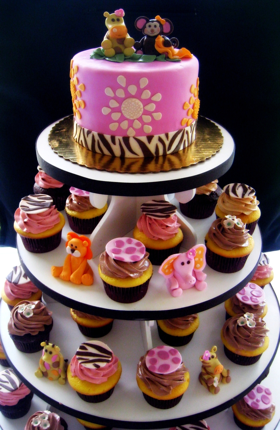 Pink And Brown Safari Baby Shower Cake And Cupcakes.