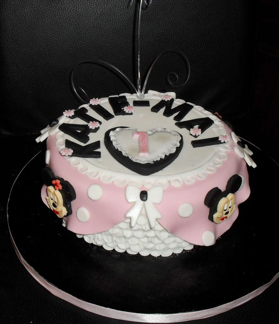 Mickey Mouse And Minnie Mouse 1st Birthday Cake Cakecentral