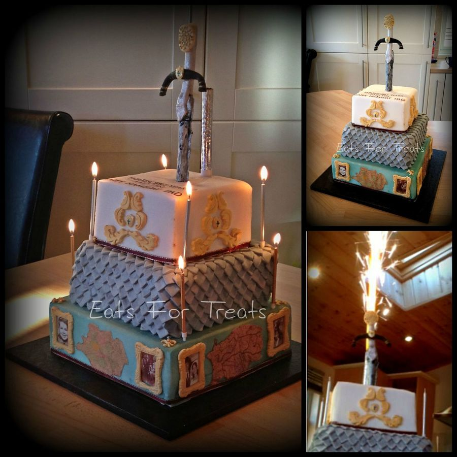 Medieval Themed Sponge Cake With Fireworks Cakecentral Com