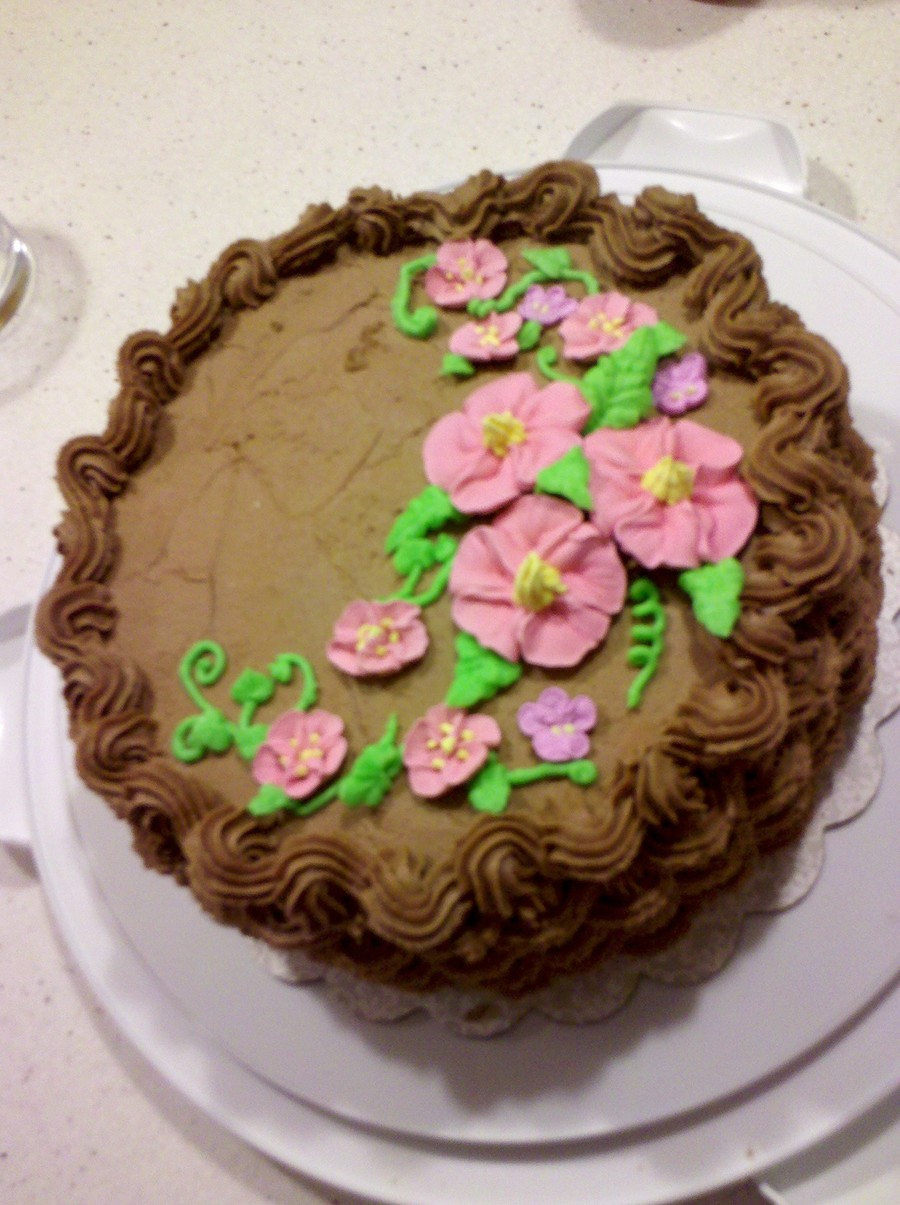 Chocolate And Chocolate With Royal Icing Flowers ...