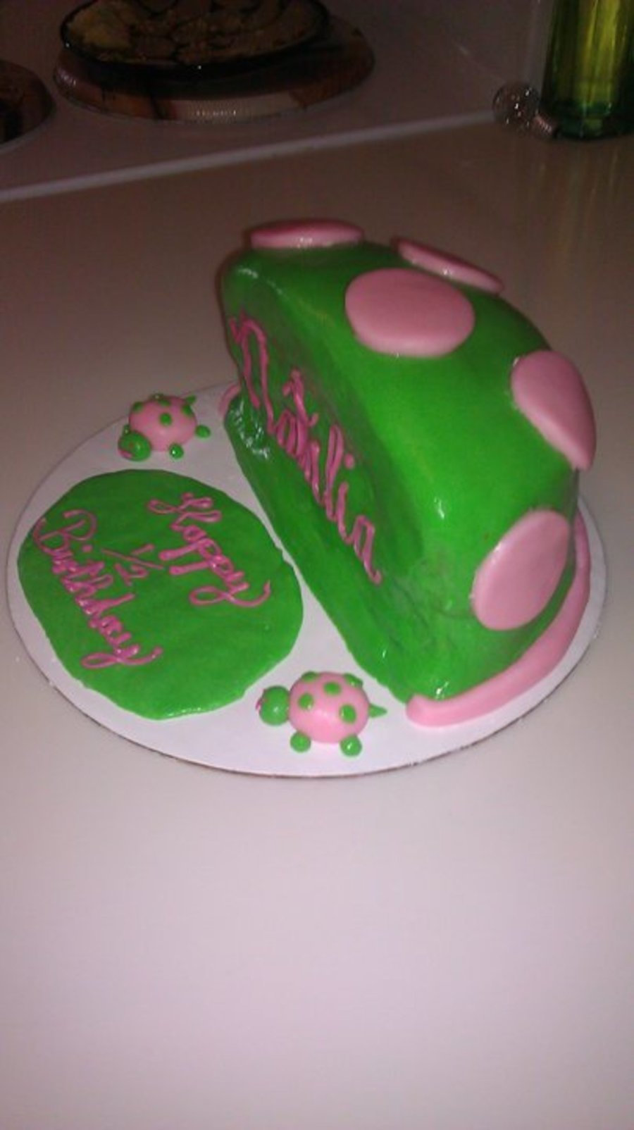 Half Of A Birthday Cake For My Daughter Turning 6 Months Old I Thought It Would
