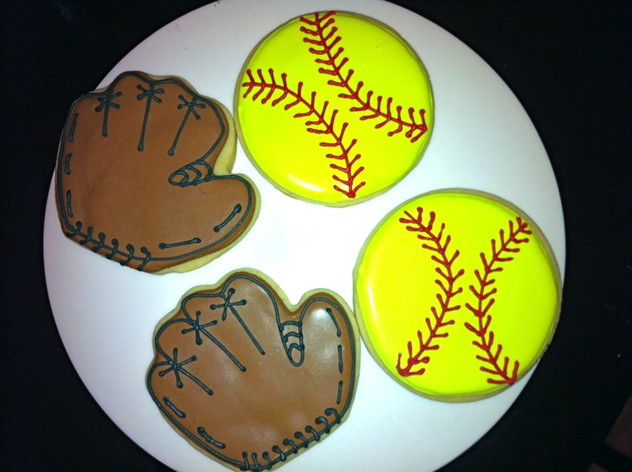 Softball And Glove Cookies  on Cake Central
