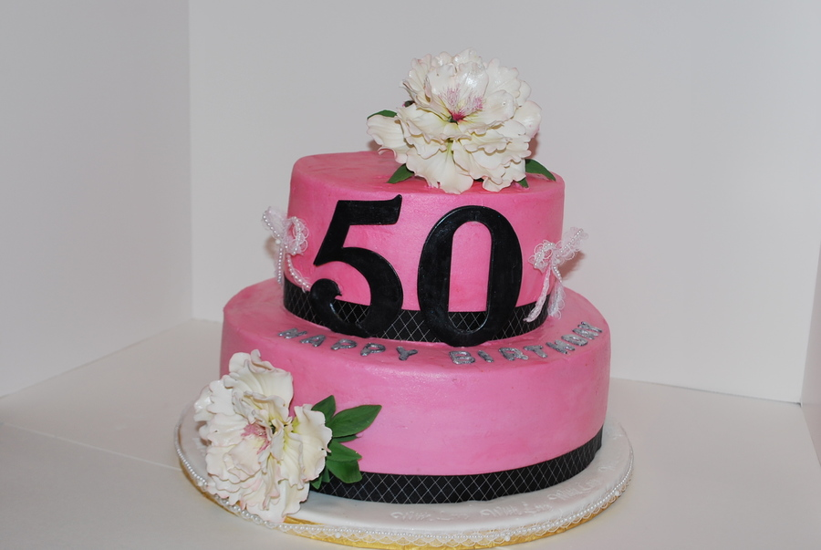 50Th Birthday Cake Pink, Black, White on Cake Central