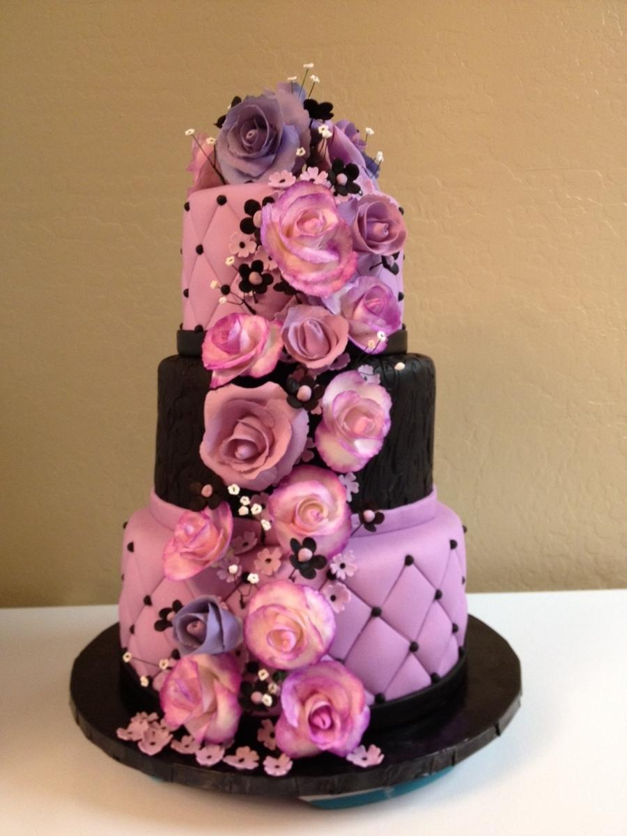 Lavender And Black Wedding Cake - CakeCentral.com