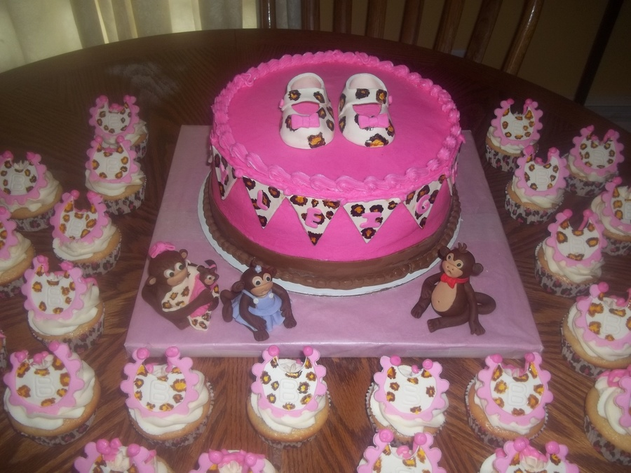 Leopard monkey baby shower cake for Animal print baby shower decoration ideas