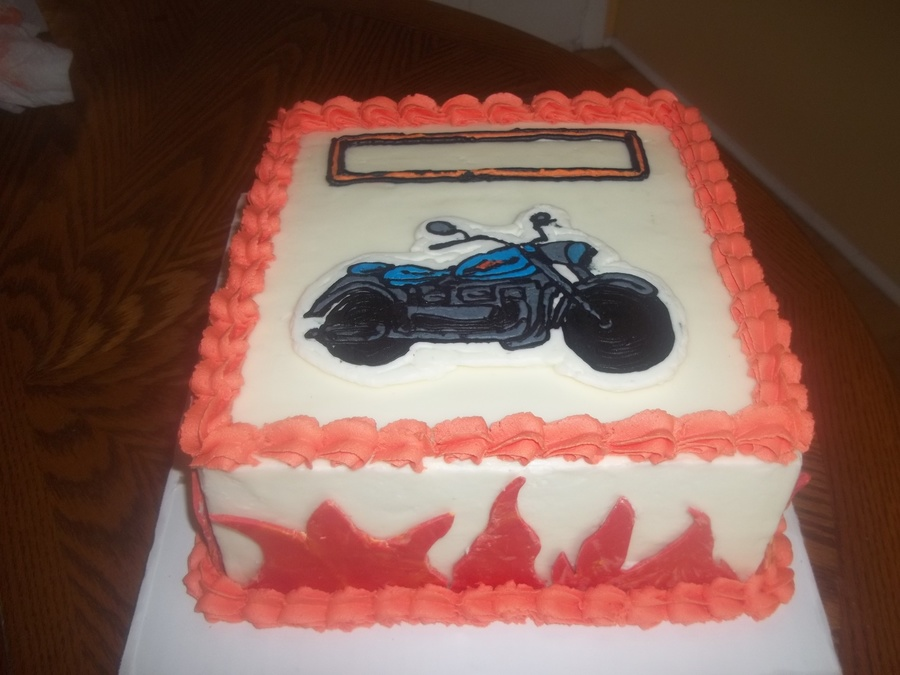 Harley Davidson Buttercream Cake Vanialla Cake And Homemade Buttercream Frosting Molding Chocolate Was Used For The Flames Buttercream on Cake Central