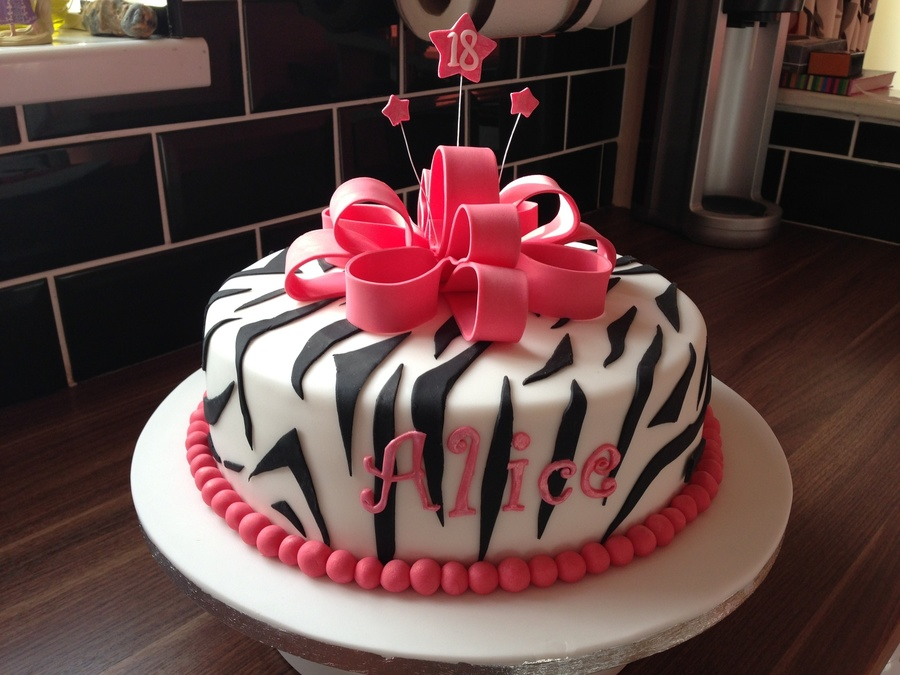 Zebra Stripe Bow Cake on Cake Central