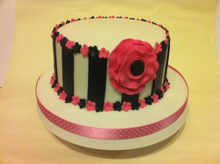 Striped Flower Cake on Cake Central