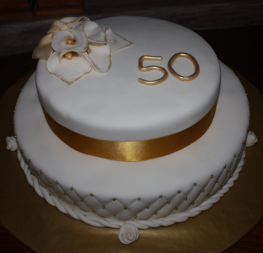 2 Tier 50Th Anniversary Fondant Cake White And Gold on Cake Central