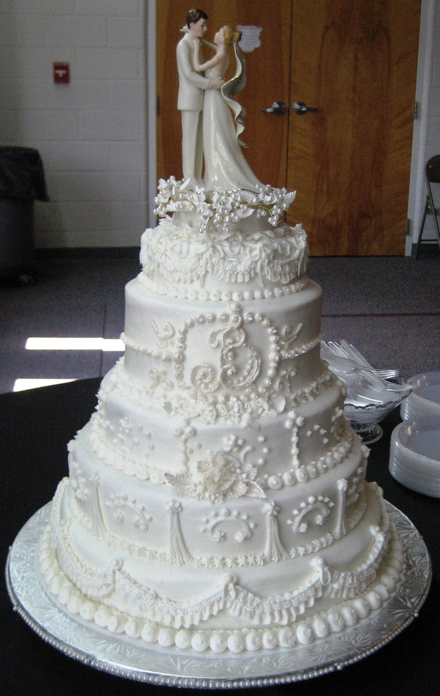 Traditional White Wedding Cake on Cake Central